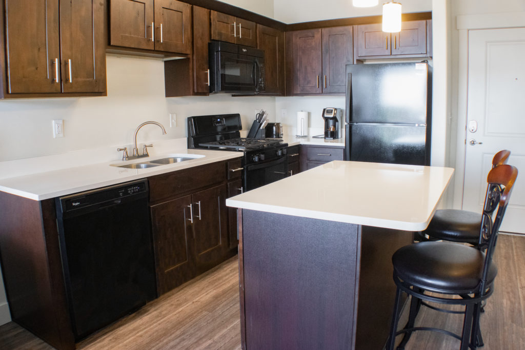 Kitchen in a 1bd 1ba apartment